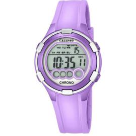Calypso K5692/8 digitaal tiener horloge 38 mm 100 meter paars/ zilverkleurig