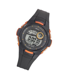 Tekday 653968 digitaal tiener horloge 38 mm 100 meter zwart/ oranje