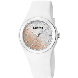 Calypso K5754/1 analoog tiener horloge 34 mm 50 meter wit