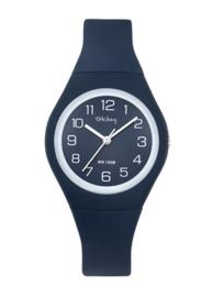 Tekday 654142 analoog tiener horloge 34 mm 100 meter blauw/ wit