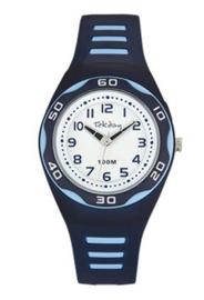 Tekday 653492 analoog tiener horloge 34 mm 100 meter blauw/ wit