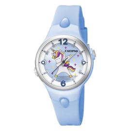 Calypso K5784/4 analoog unicorn horloge 34 mm 100 meter lichtblauw