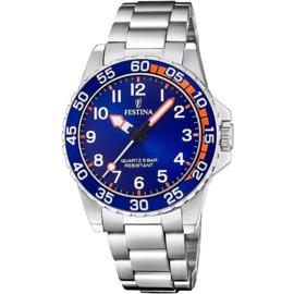 Festina F20459/2 tiener horloge 36 mm 50 meter zilverkleurig/ blauw/ oranje
