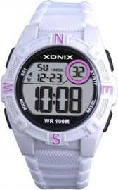 Xonix KQA-004 digitaal tiener horloge 40 mm 100 meter wit/ zwart