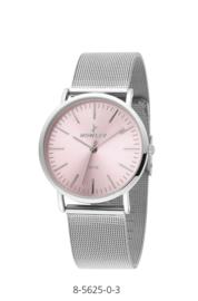 Nowley 8-5625-0-3 analoog tiener horloge 36 mm 30 meter zilverkleurig/ roze
