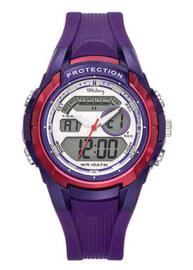 Tekday 654013 analoog/ digitaal tiener horloge 40 mm 100 meter paars/ fuchsia