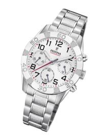 Festina F20345/1 chronograaf horloge 36 mm 50 meter wit