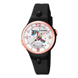 Calypso K5784/8 analoog unicorn horloge 34 mm 100 meter zwart/ rosékleurig