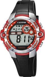 Calypso K5617/5 digitaal tiener horloge 37 mm 100 meter zwart/ rood