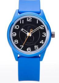 Q&Q 651004 Smile Solar tiener horloge 40 mm 50 meter blauw/ zwart/ oranje