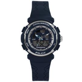 Coolwatch CW.272 analoog/ digitaal tiener horloge 36 mm 50 meter blauw/ zilverkleur