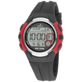 Nowley 8-6224-0-3 digitaal tiener horloge 43 mm 100 meter zwart/ rood
