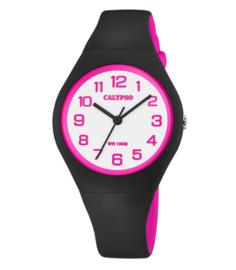 Calypso K5777/8 analoog tiener horloge 34 mm 100 meter zwart/ roze