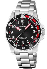 Festina F20459/3 tiener horloge 36 mm 100 meter zilverkleurig/ zwart/ rood