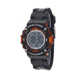 Marea B40190/2 digitaal tiener horloge 40 mm 100 meter zwart/ oranje