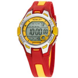 Nowley 8-6130-0-8 digitaal tiener horloge 37 mm 100 meter rood/ geel