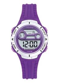Tekday 653278 digitaal tiener horloge 34 mm 100 meter paars/ zilverkleur