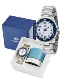 Marea B35279/10 analoog horloge 38 mm 50 meter wit/ blauw