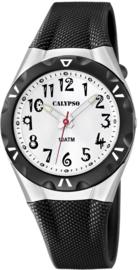 Calypso K6064/2 analoog tiener horloge 35 mm 100 meter zwart/ zilver kleurig