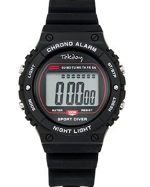 Tekday 654659 digitaal tiener horloge 39 mm 100 meter zwart/ rood