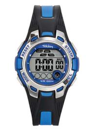 Tekday 653921 digitaal tiener horloge 37 mm 100 meter zwart/ blauw
