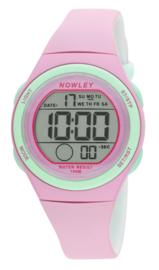 Nowley 8-6303-0-2 digitaal tiener horloge 34 mm 100 meter roze/ mint