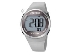 Calypso K5786/1 digitaal tiener horloge 38 mm 100 meter grijs/ zilverkleurig
