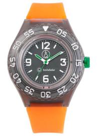 Q&Q 651031 Smile Solar tiener horloge 43 mm 200 meter oranje/ zwart