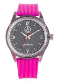 Q&Q 651021 Smile Solar tiener horloge 40 mm 100 meter fuchsia/ grijs