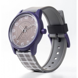 Q&Q RP00J052Y Smile Solar tiener horloge 40 mm 50 meter grijs/ paars