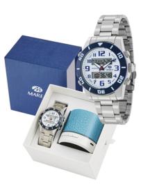 Marea B35281/10 analoog/ digitaal horloge 38 mm 50 meter wit/ blauw