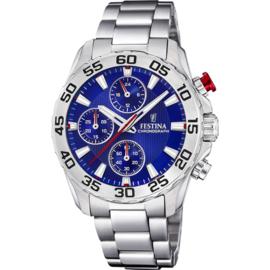 Festina F20457/2 chronograaf horloge 38 mm 50 meter zilverkleurig/ blauw
