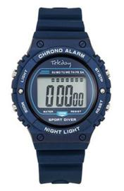Tekday 654658 digitaal tiener horloge 39 mm 100 meter blauw