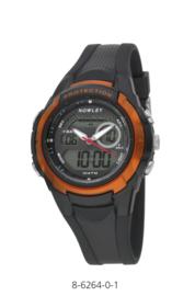 Nowley 8-6264-0-1 analoog/ digitaal tiener horloge 40 mm 100 meter zwart/ oranje