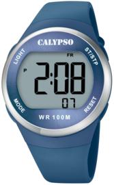 Calypso K5786/3 digitaal tiener horloge 38 mm 100 meter blauw/ zilverkleurig