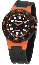 Sinar XB-20-9 analoog tiener horloge 38 mm 100 meter zwart/ oranje