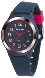 Sinar XB-48-2 analoog tiener horloge 36 mm 100 meter blauw/ roze