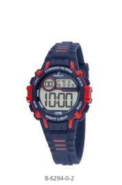 Nowley 8-6294-0-2 digitaal tiener horloge 35 mm 100 meter blauw/ rood