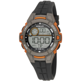 Nowley 8-6285-0-3 digitaal tiener horloge 39 mm 100 meter grijs/ oranje
