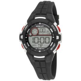 Nowley 8-6285-0-1 digitaal tiener horloge 39 mm 100 meter zwart/ rood