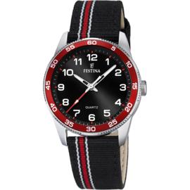 Festina F16906/3 tiener horloge 34 mm 50 meter zwart/ rood