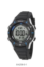 Nowley 8-6258-0-1 digitaal tiener horloge 40 mm 100 meter zwart/ blauw