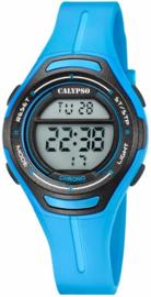 Calypso K5727/4 digitaal tiener horloge 34 mm 100 meter blauw/ zwart