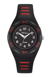Tekday 653490 analoog tiener horloge 34 mm 100 meter zwart/ rood