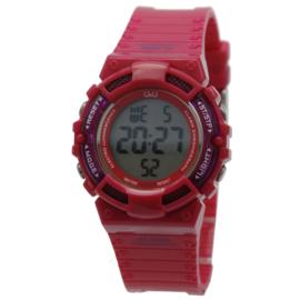 Q&Q M138J003 digitaal tiener horloge 36 mm 100 meter hard roze