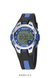 Nowley 8-6301-0-2 digitaal tiener horloge 37 mm 100 meter zwart/ blauw