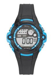 Tekday 653842 digitaal tiener horloge 38 mm 100 meter zwart/ blauw