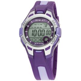 Nowley 8-6130-0-10 digitaal tiener horloge 37 mm 100 meter paars