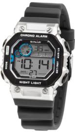 Sinar XE-55-19 digitaal tiener horloge 35 mm 100 meter zwart/ zilverkleur