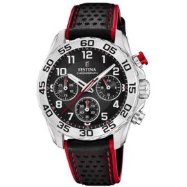 Festina F20458/3  chronograaf horloge 38 mm 50 meter zwart/ rood
